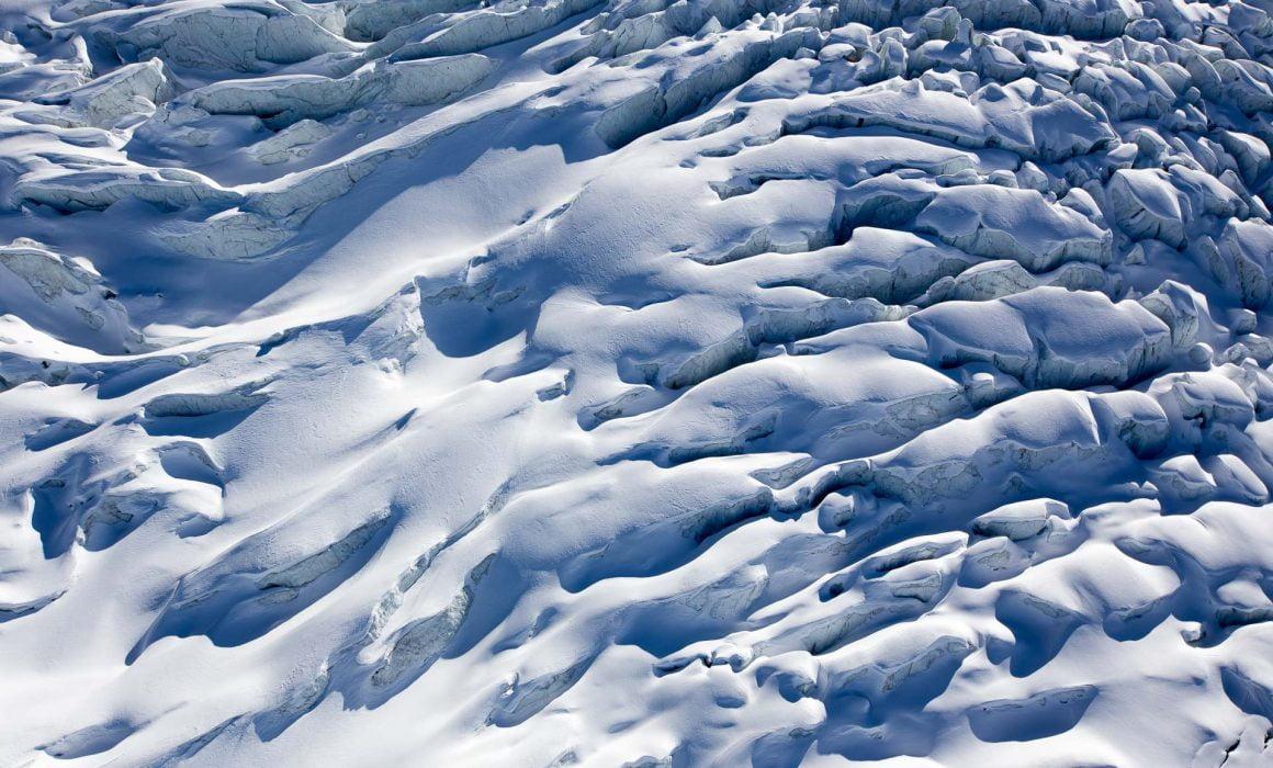 Glacier des Bossons vu du ciel depuis mon parapente. Glacier du massif du mont blanc